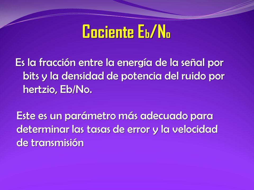 Cociente Eb/No Es la fracción entre la energía de la señal por bits y la densidad de potencia del ruido por hertzio, Eb/No.