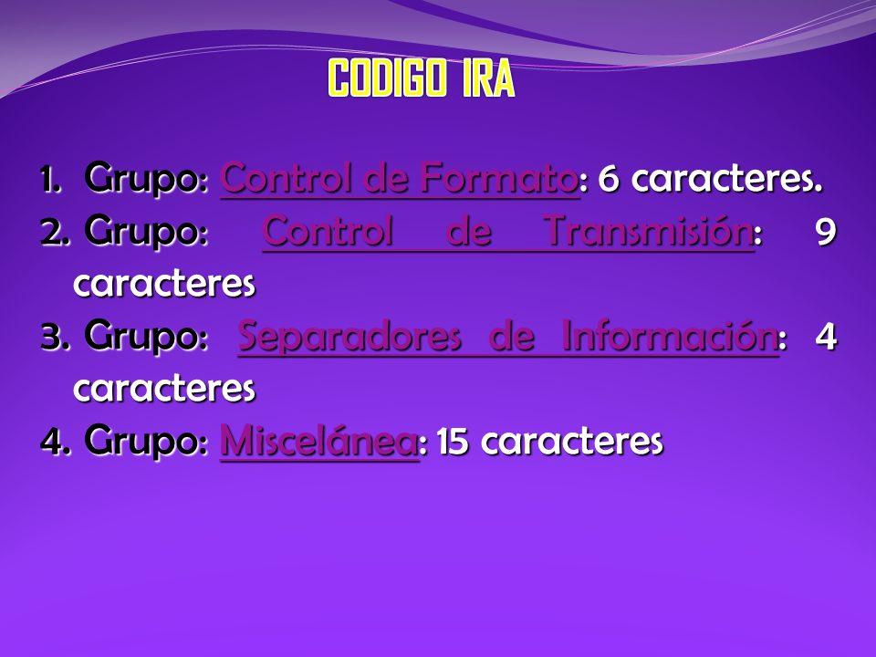 CODIGO IRA Grupo: Control de Formato: 6 caracteres.