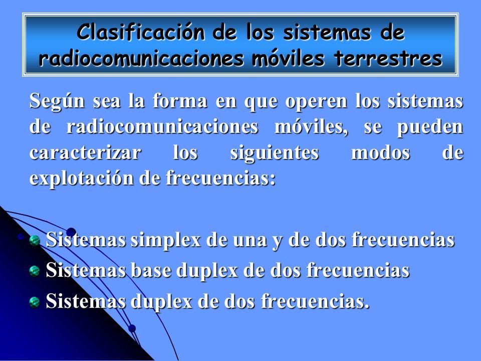 Clasificación de los sistemas de radiocomunicaciones móviles terrestres