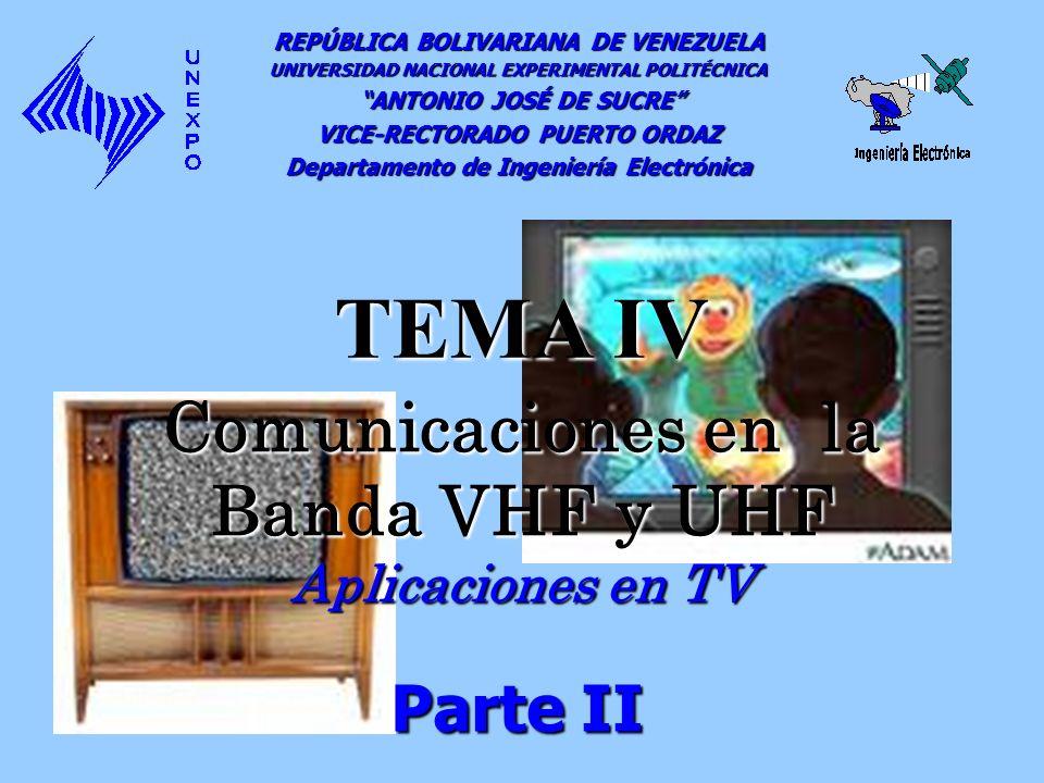 Comunicaciones en la Banda VHF y UHF Aplicaciones en TV