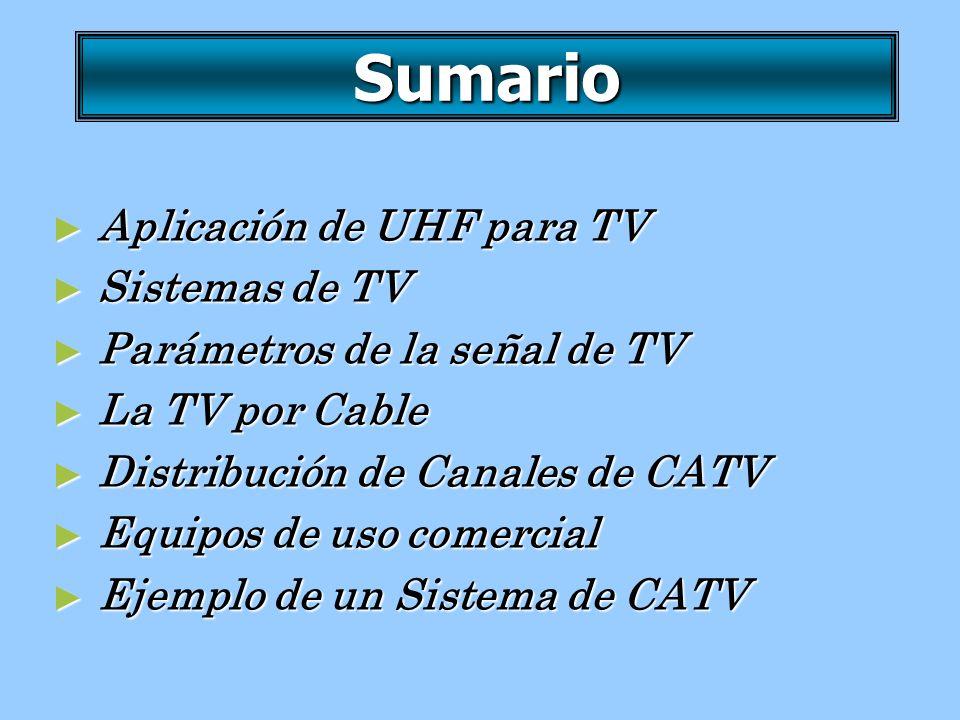 Sumario Aplicación de UHF para TV Sistemas de TV