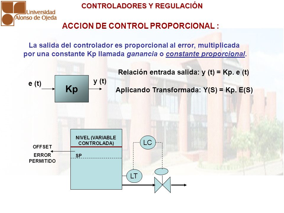 Kp ACCION DE CONTROL PROPORCIONAL :