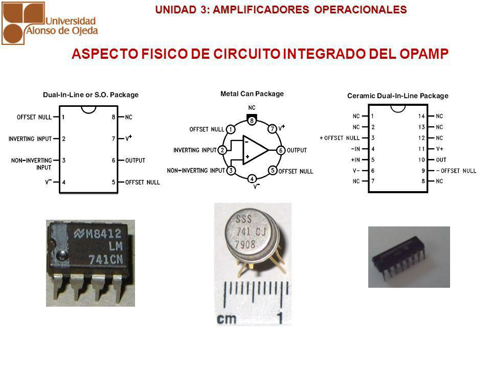 ASPECTO FISICO DE CIRCUITO INTEGRADO DEL OPAMP