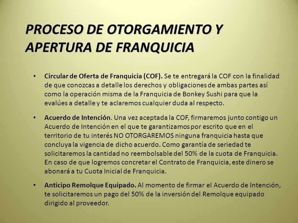 PROCESO DE OTORGAMIENTO Y APERTURA DE FRANQUICIA