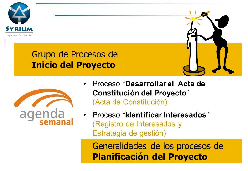 Generalidades de los procesos de Planificación del Proyecto
