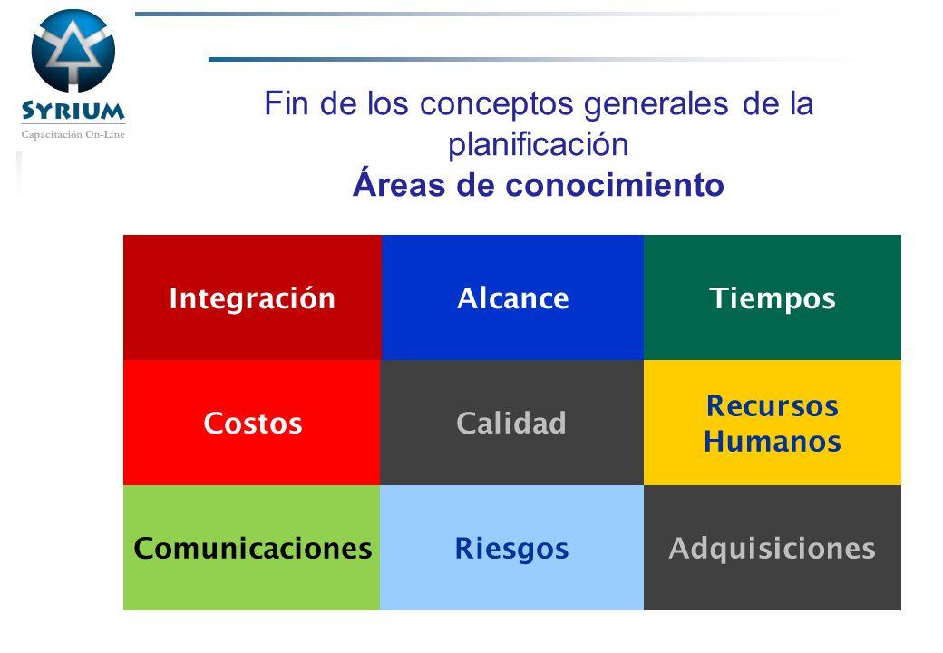 Rosario Morelli, PMP 31/03/2017. Fin de los conceptos generales de la planificación Áreas de conocimiento.