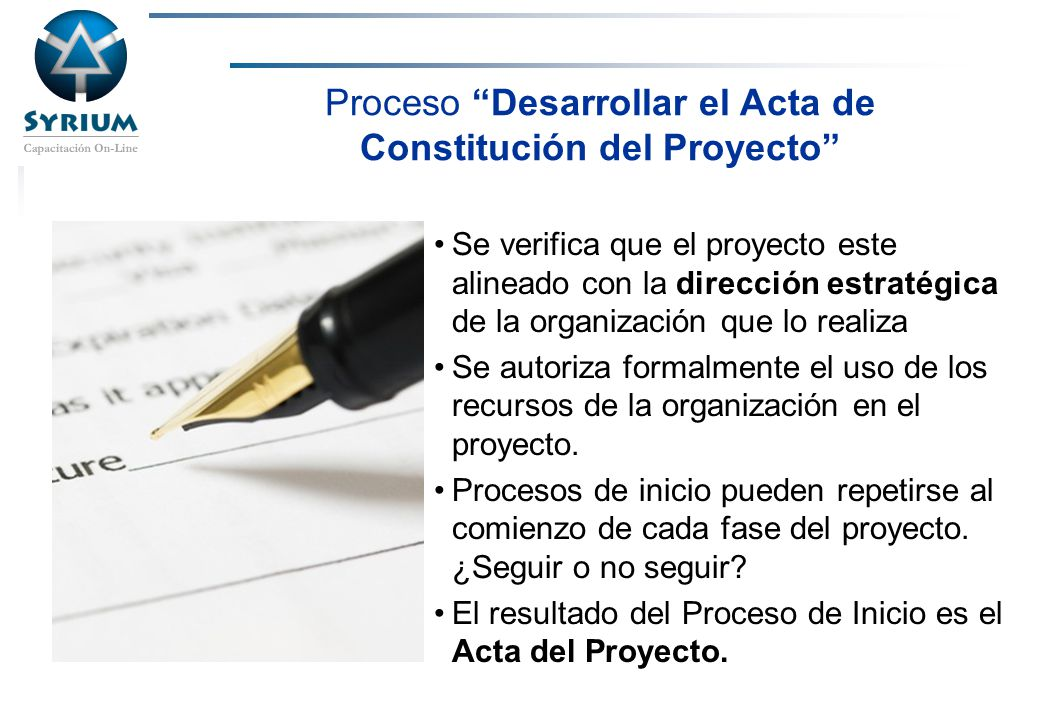 Proceso Desarrollar el Acta de Constitución del Proyecto