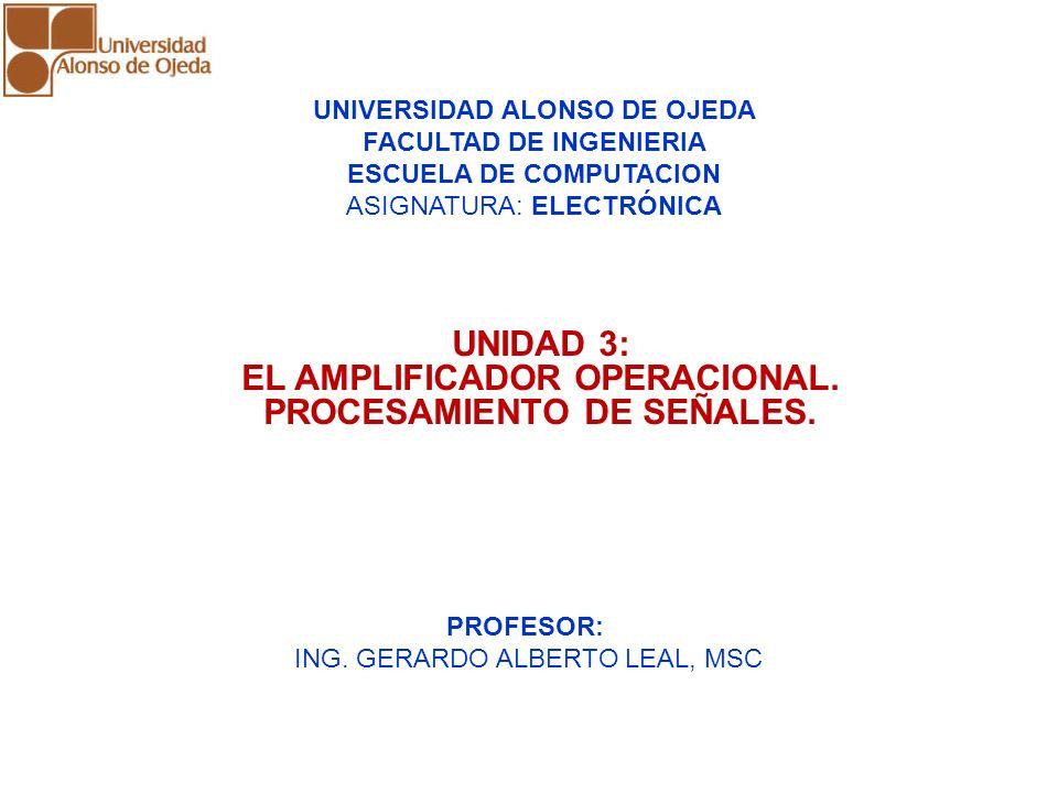 UNIDAD 3: EL AMPLIFICADOR OPERACIONAL. PROCESAMIENTO DE SEÑALES.