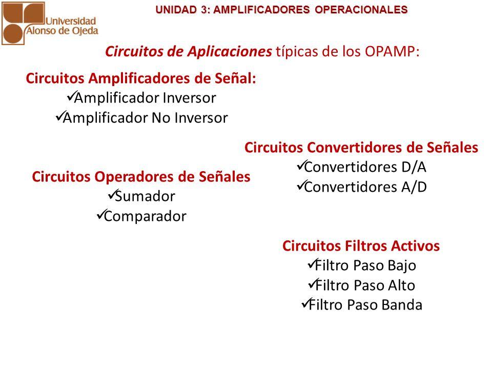 Circuitos de Aplicaciones típicas de los OPAMP: