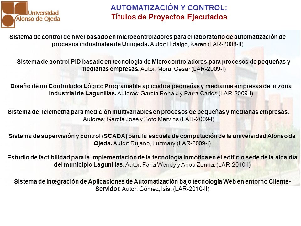 AUTOMATIZACIÓN Y CONTROL: Títulos de Proyectos Ejecutados