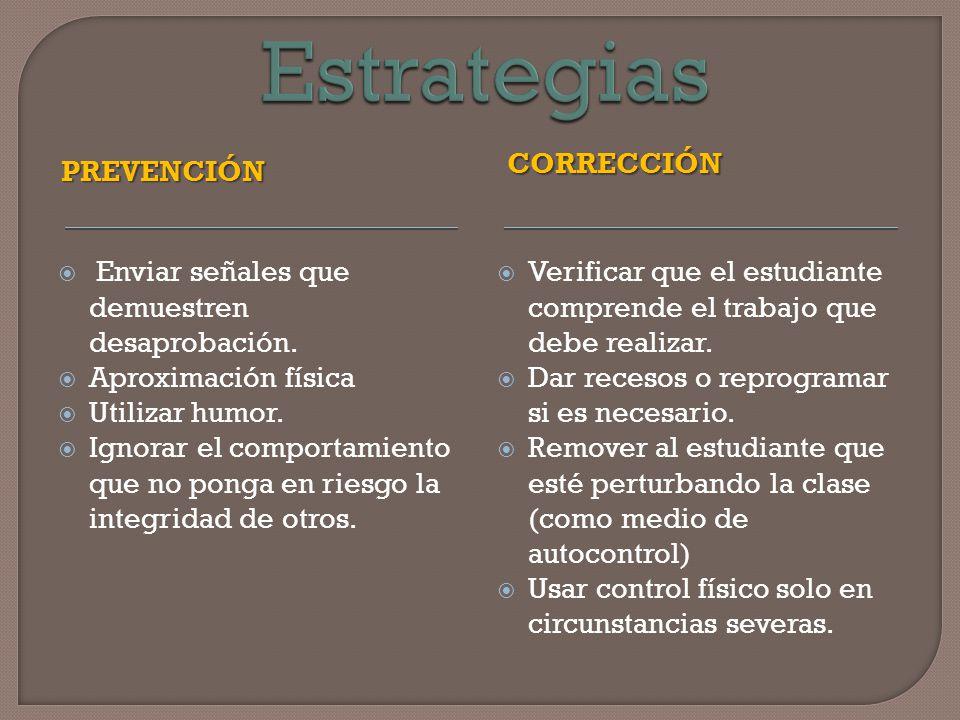 Estrategias corrección Prevención