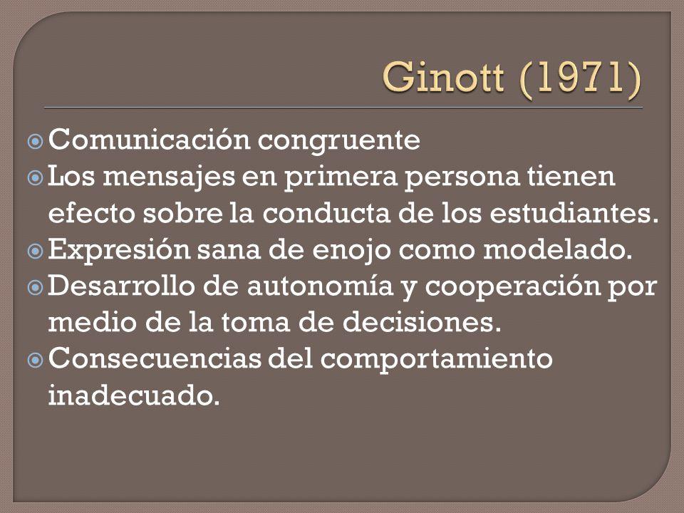 Ginott (1971) Comunicación congruente