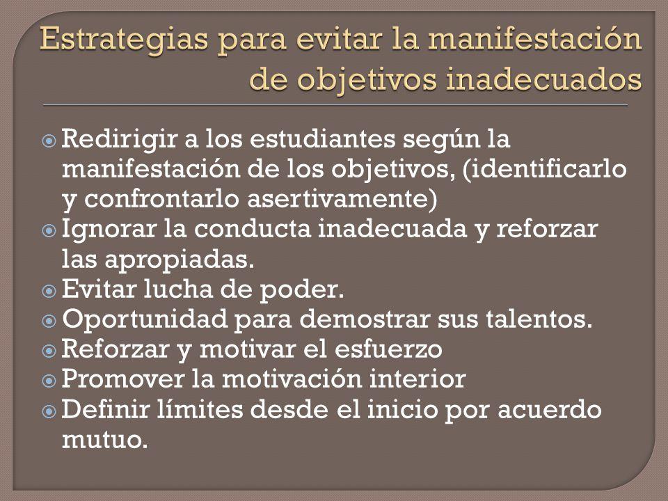 Estrategias para evitar la manifestación de objetivos inadecuados