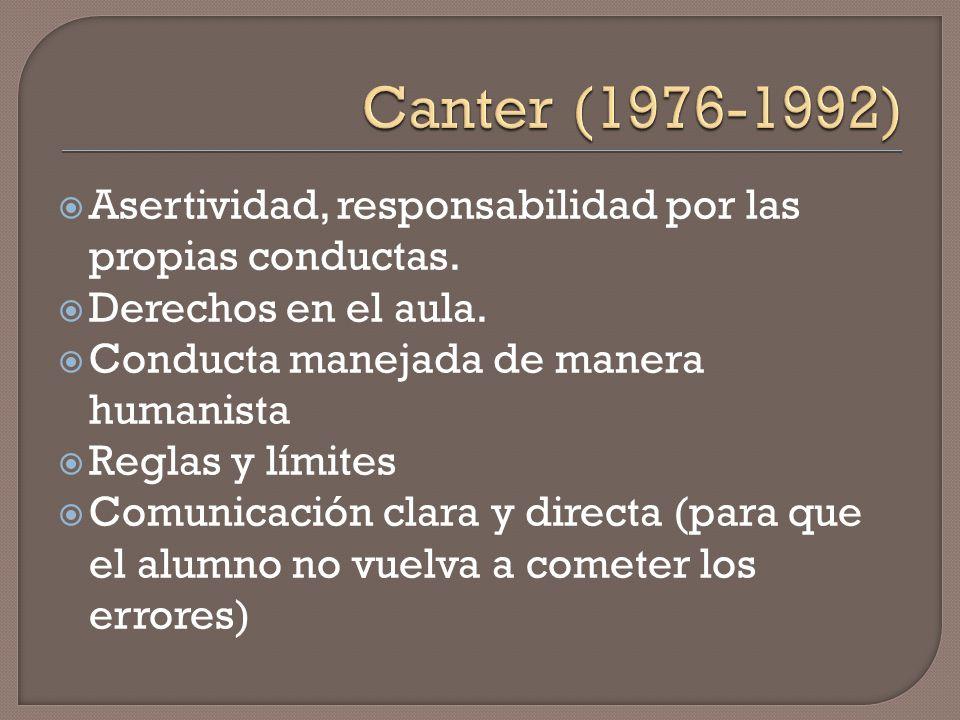 Canter (1976-1992) Asertividad, responsabilidad por las propias conductas. Derechos en el aula. Conducta manejada de manera humanista.
