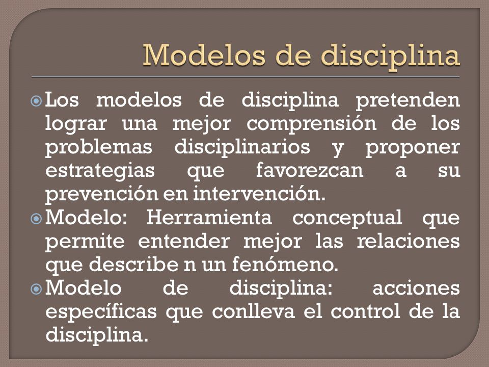 Modelos de disciplina