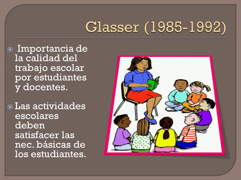 Glasser (1985-1992) Importancia de la calidad del trabajo escolar por estudiantes y docentes.