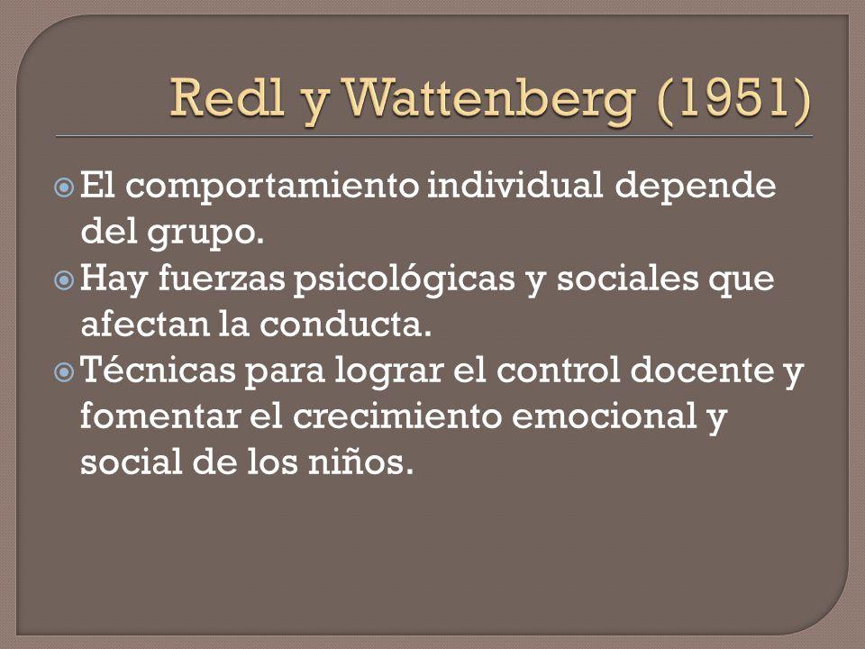 Redl y Wattenberg (1951) El comportamiento individual depende del grupo. Hay fuerzas psicológicas y sociales que afectan la conducta.