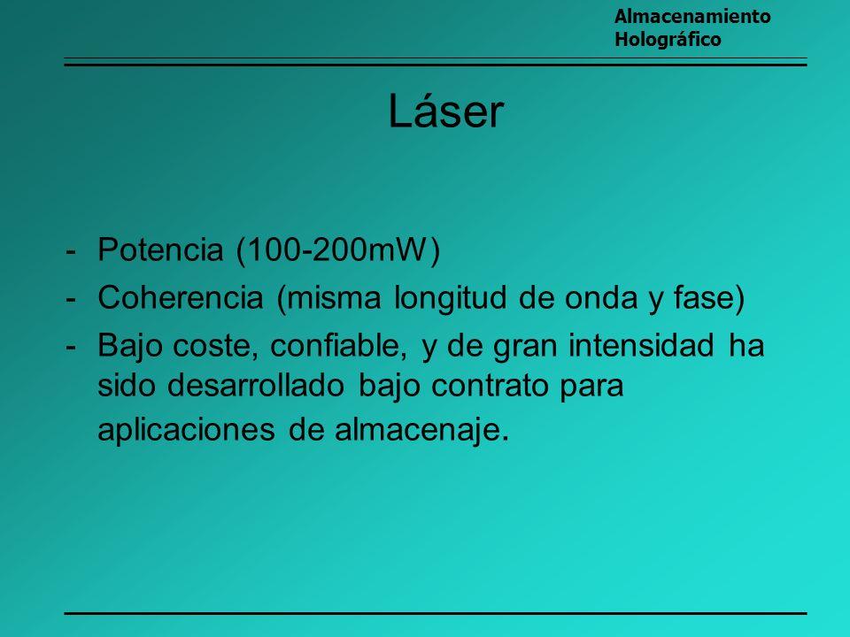 Láser Potencia (100-200mW) Coherencia (misma longitud de onda y fase)