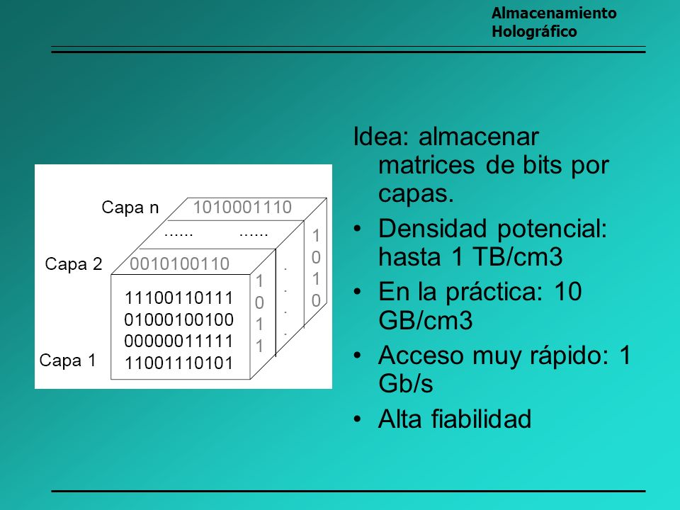 Idea: almacenar matrices de bits por capas.