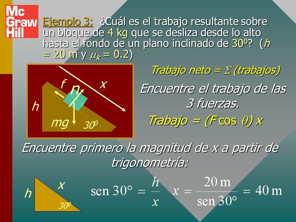 n f x Encuentre el trabajo de las 3 fuerzas. h Trabajo = (F cos q) x
