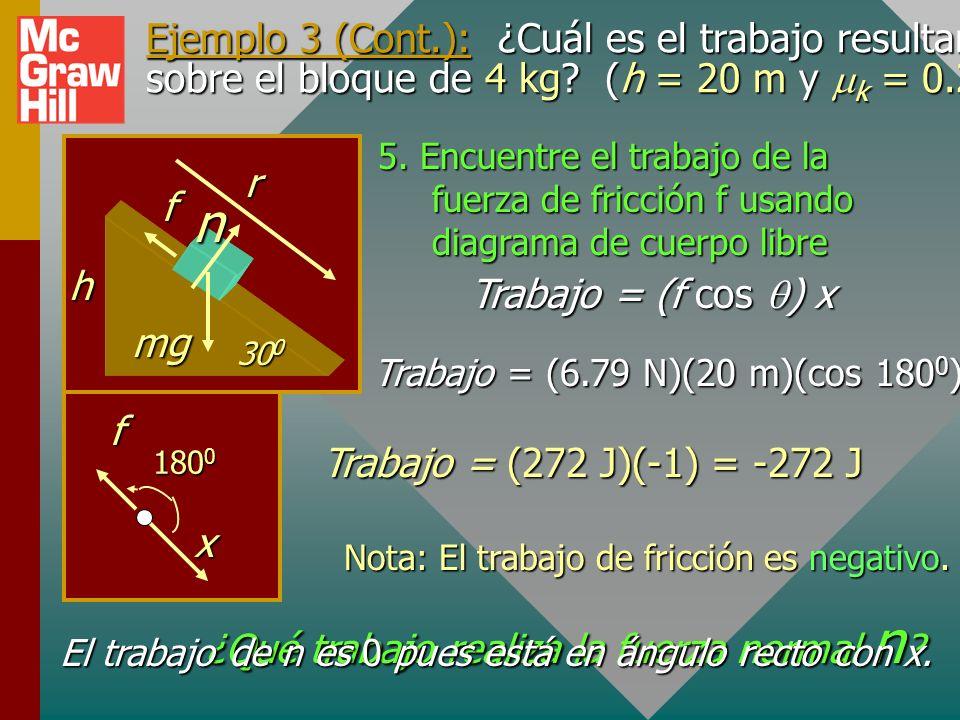 Ejemplo 3 (Cont.): ¿Cuál es el trabajo resultante sobre el bloque de 4 kg (h = 20 m y mk = 0.2)