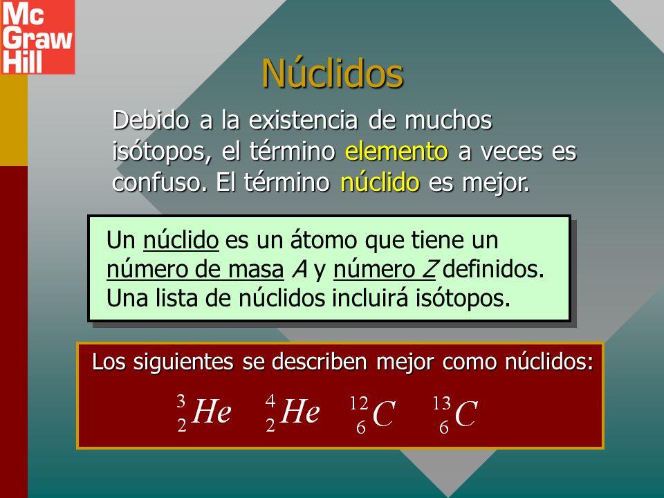 Los siguientes se describen mejor como núclidos:
