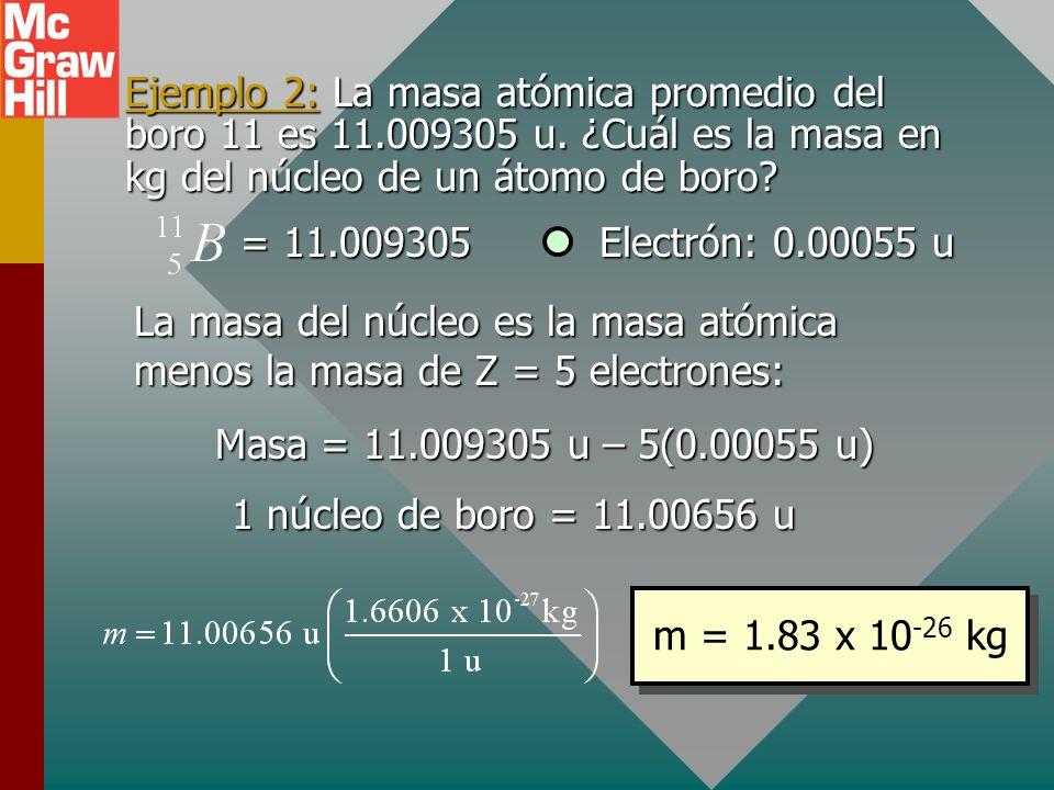 Ejemplo 2: La masa atómica promedio del boro 11 es 11. 009305 u