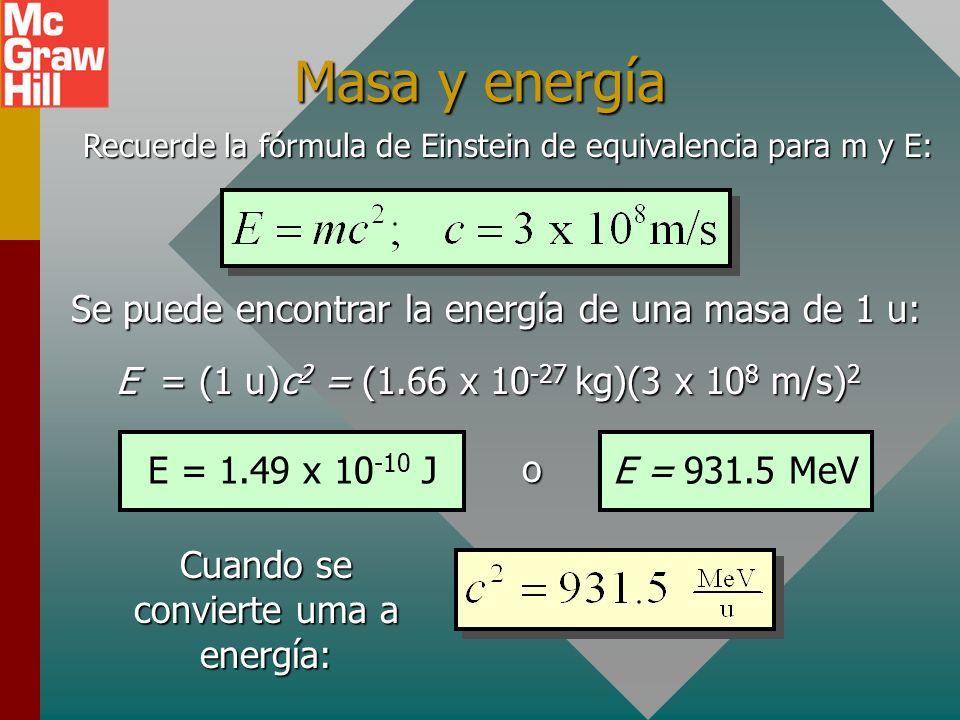 Masa y energía Se puede encontrar la energía de una masa de 1 u:
