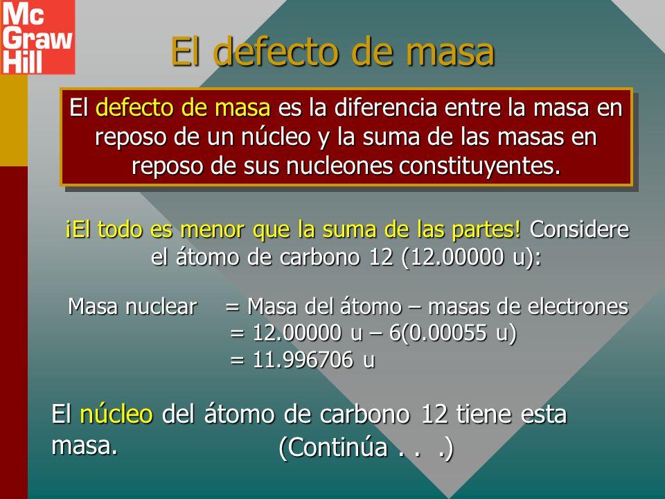 El defecto de masa El núcleo del átomo de carbono 12 tiene esta masa.