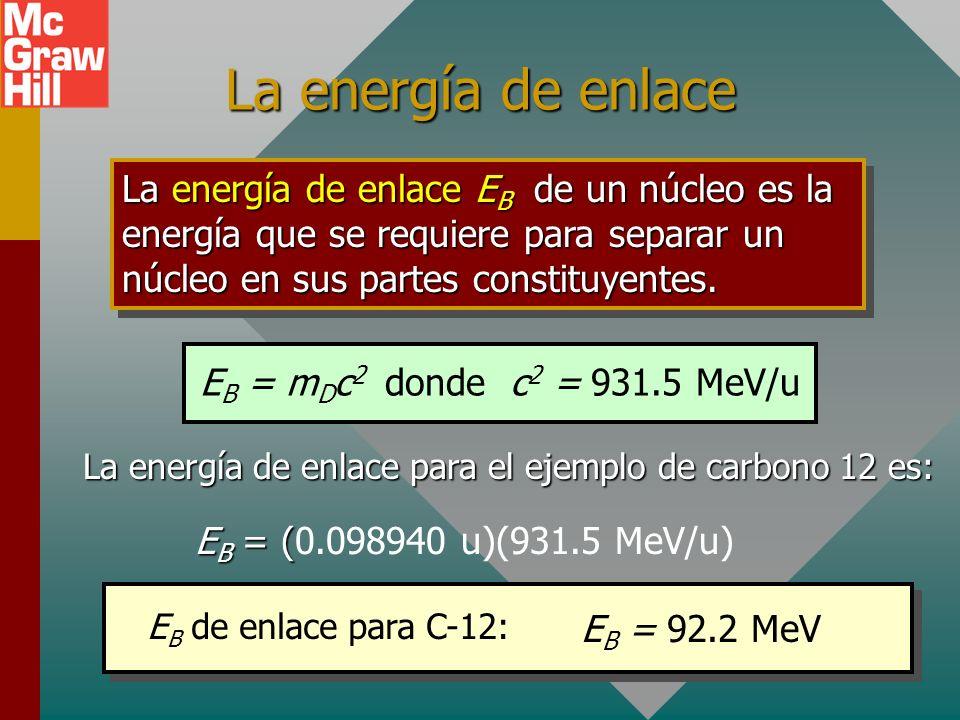 La energía de enlace para el ejemplo de carbono 12 es: