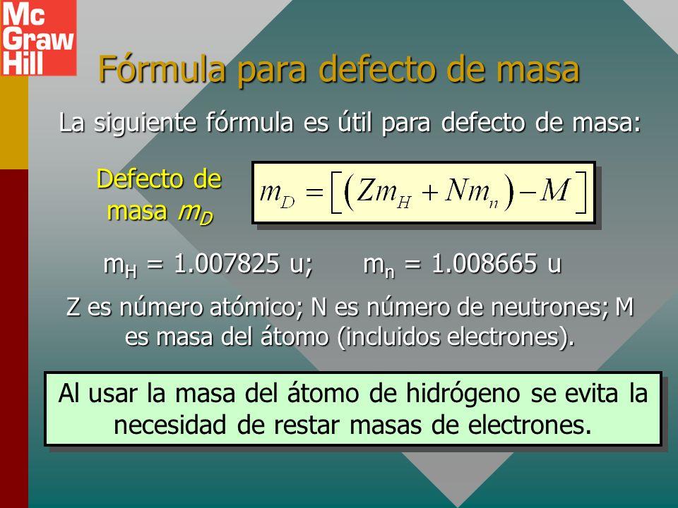 Fórmula para defecto de masa
