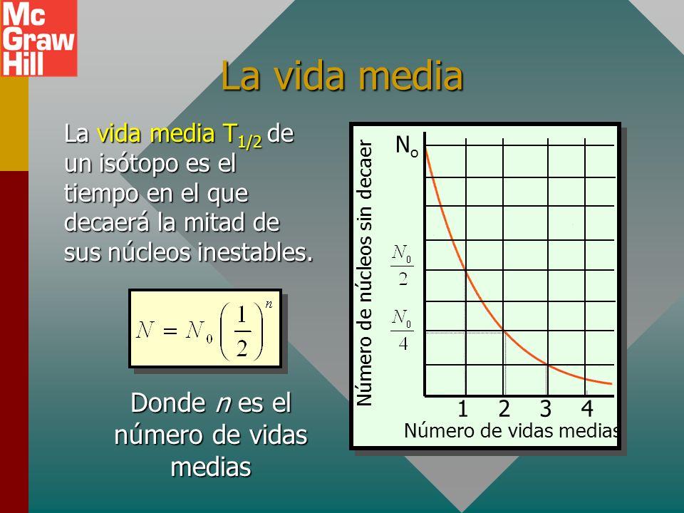 La vida media Donde n es el número de vidas medias
