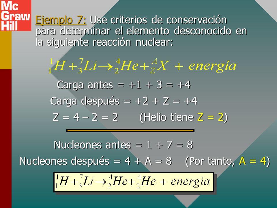 Ejemplo 7: Use criterios de conservación para determinar el elemento desconocido en la siguiente reacción nuclear: