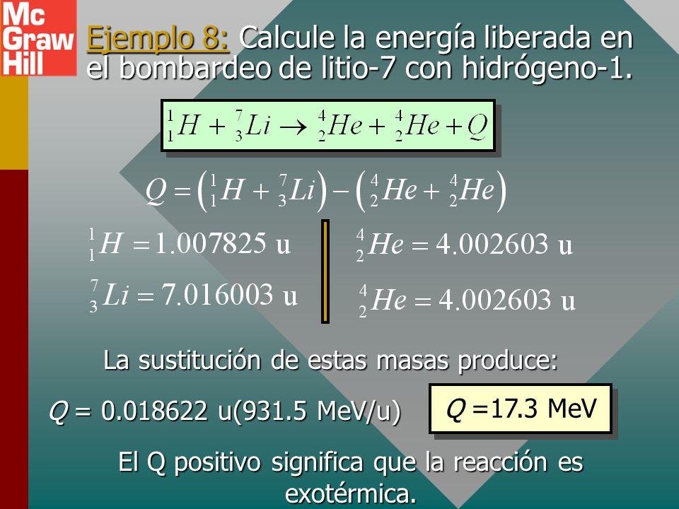 Ejemplo 8: Calcule la energía liberada en el bombardeo de litio-7 con hidrógeno-1.