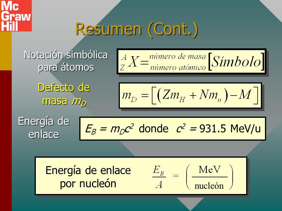 Resumen (Cont.) Defecto de masa mD Energía de enlace