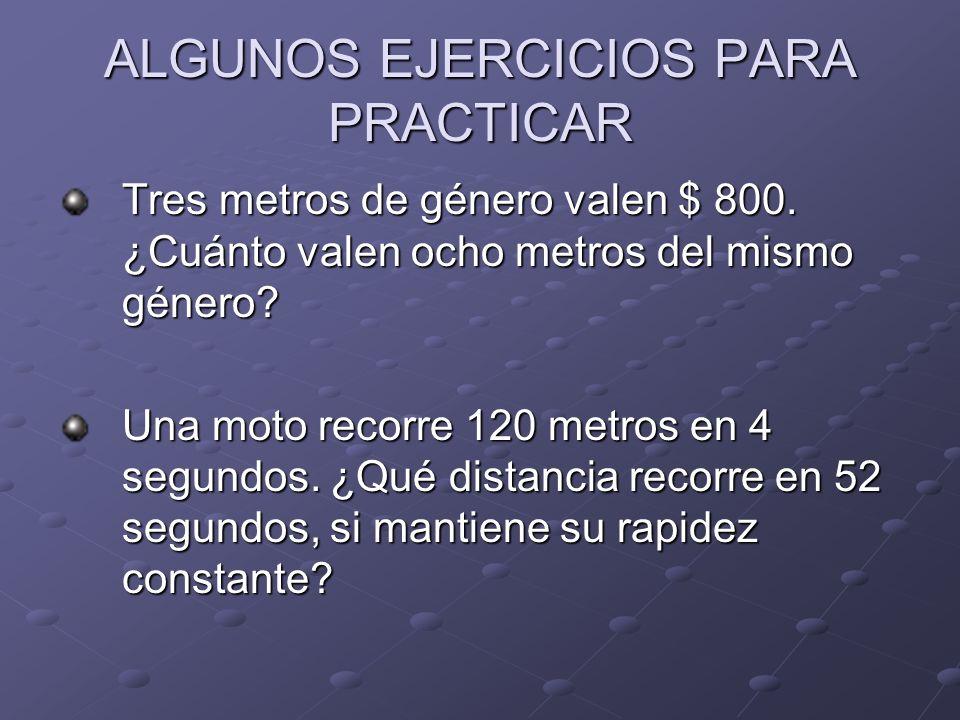 ALGUNOS EJERCICIOS PARA PRACTICAR