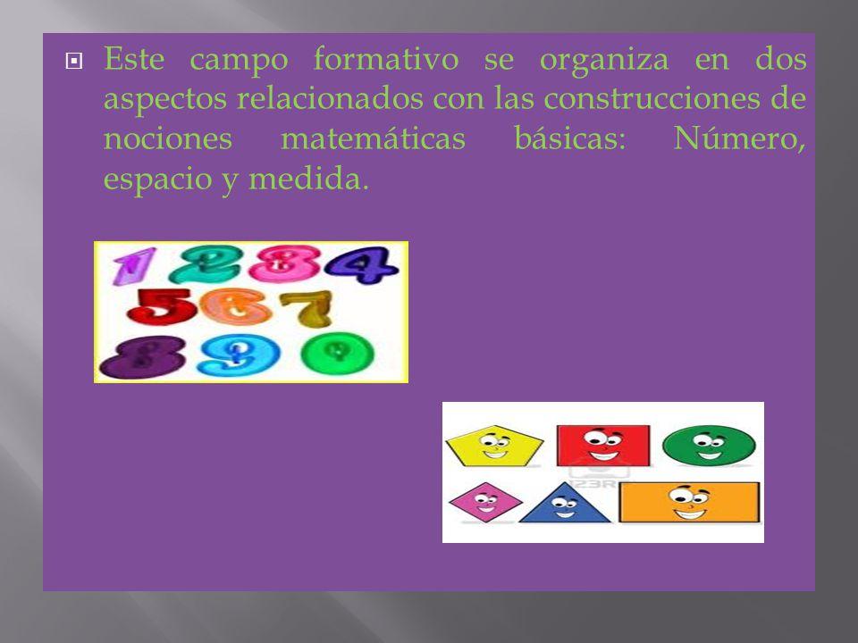 Este campo formativo se organiza en dos aspectos relacionados con las construcciones de nociones matemáticas básicas: Número, espacio y medida.