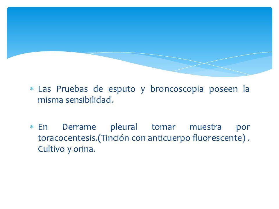 Las Pruebas de esputo y broncoscopia poseen la misma sensibilidad.