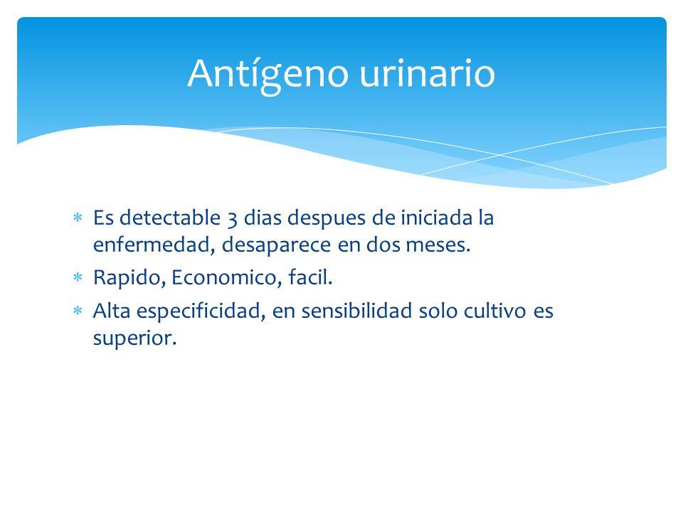Antígeno urinario Es detectable 3 dias despues de iniciada la enfermedad, desaparece en dos meses. Rapido, Economico, facil.
