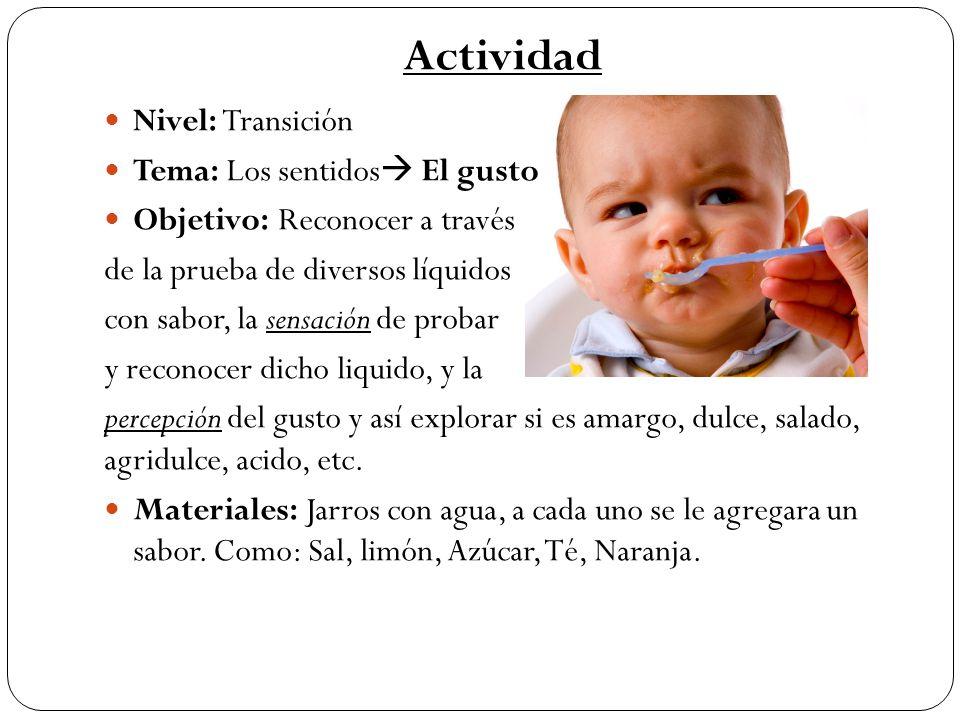 Actividad Nivel: Transición Tema: Los sentidos El gusto