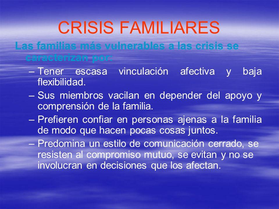 CRISIS FAMILIARES Las familias más vulnerables a las crisis se caracterizan por: Tener escasa vinculación afectiva y baja flexibilidad.
