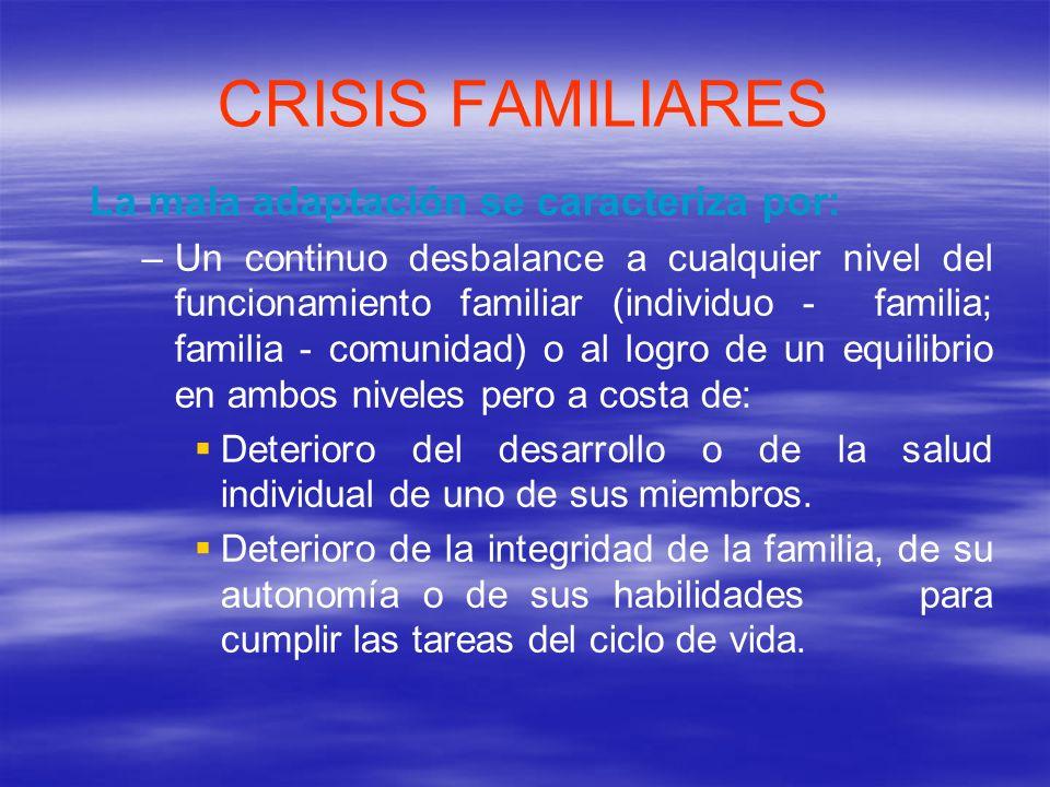 CRISIS FAMILIARES La mala adaptación se caracteriza por: