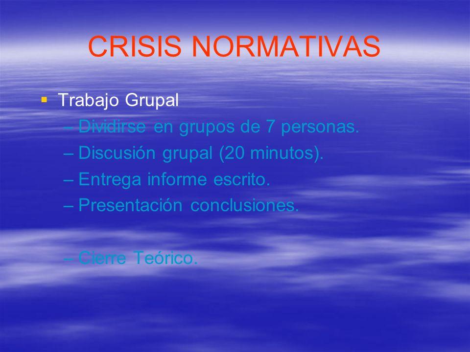 CRISIS NORMATIVAS Trabajo Grupal Dividirse en grupos de 7 personas.