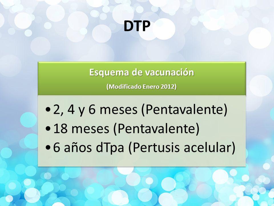 DTP Esquema de vacunación (Modificado Enero 2012)