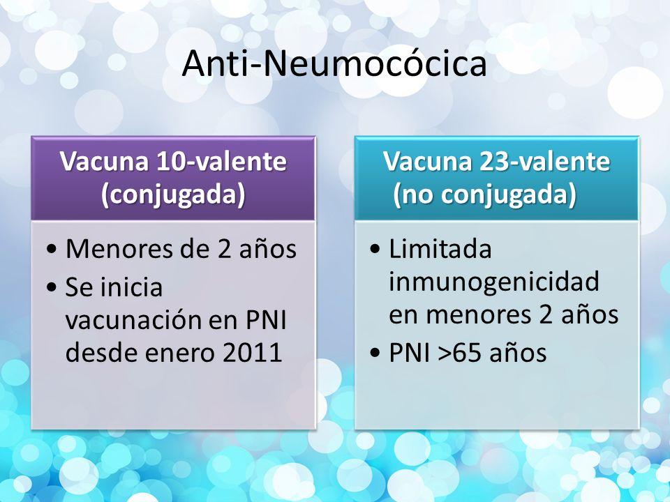 Vacuna 10-valente (conjugada) Vacuna 23-valente (no conjugada)