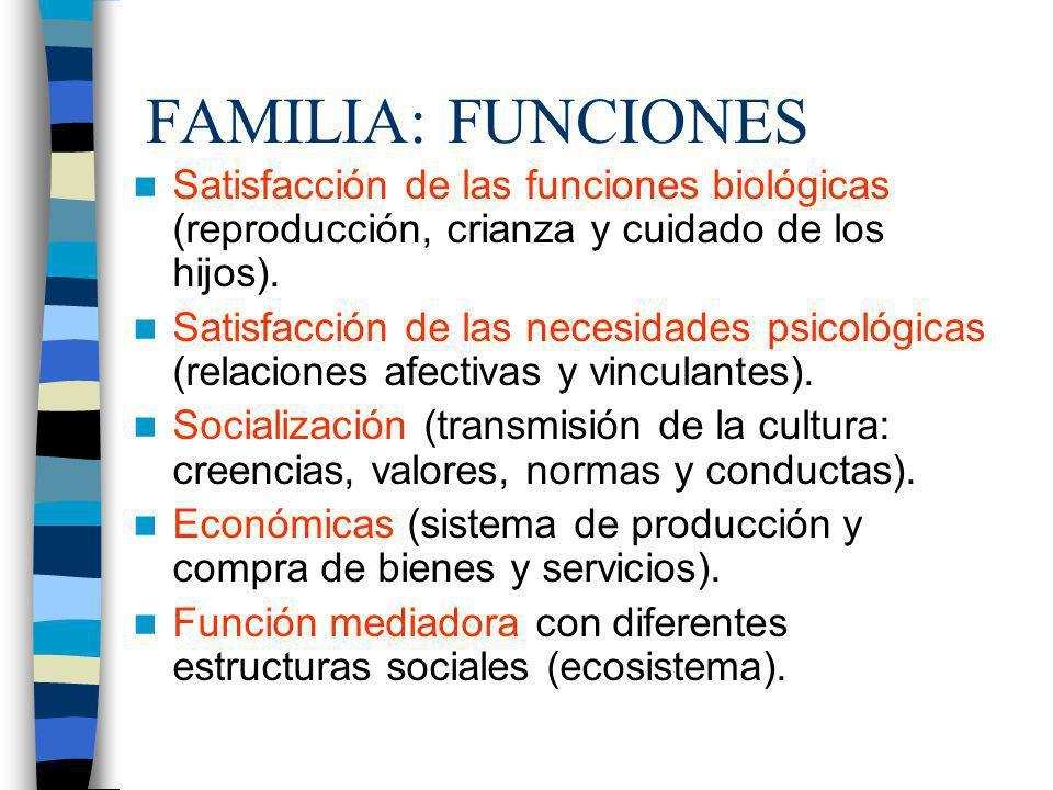 FAMILIA: FUNCIONES Satisfacción de las funciones biológicas (reproducción, crianza y cuidado de los hijos).