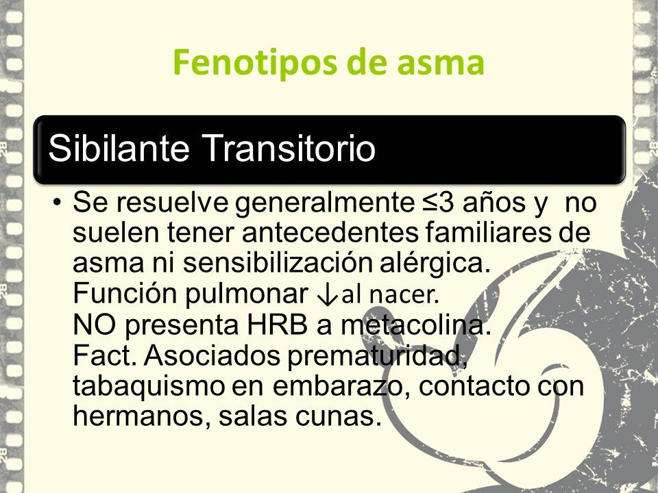 Fenotipos de asma Sibilante Transitorio.