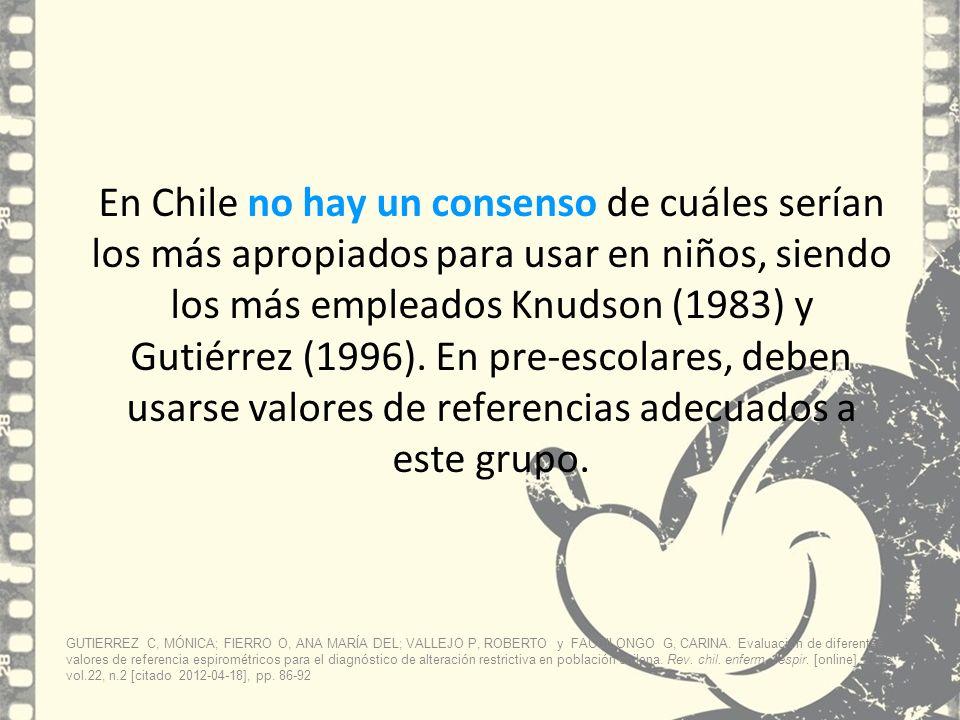 En Chile no hay un consenso de cuáles serían los más apropiados para usar en niños, siendo los más empleados Knudson (1983) y Gutiérrez (1996). En pre-escolares, deben usarse valores de referencias adecuados a este grupo.