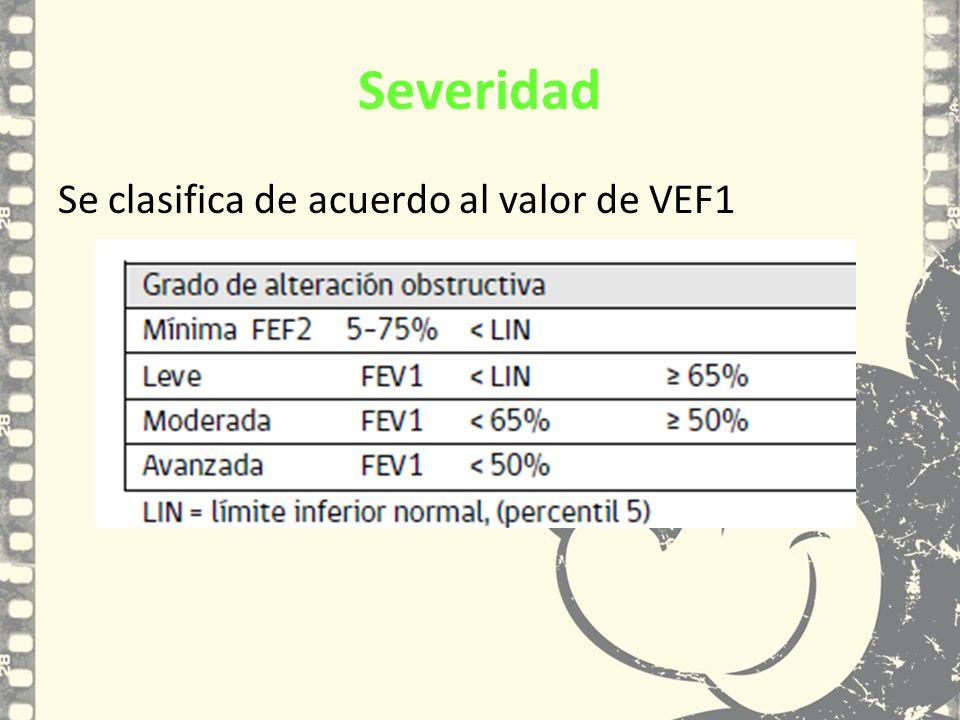 Severidad Se clasifica de acuerdo al valor de VEF1