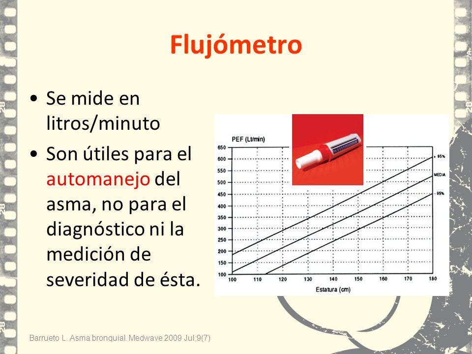 Flujómetro Se mide en litros/minuto